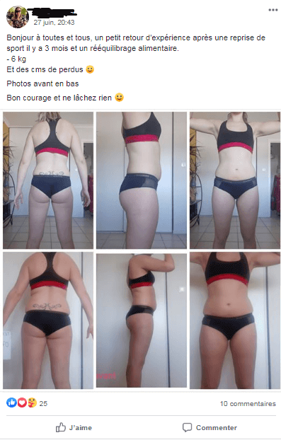 Facebook post of clients progress